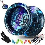 Magic Yoyo Professional Y03-Hertz, Yoyo que no responde para niños y Bola de yoyo de metal de aluminio de aleación premium avanzada con tiempo de giro prolongado + Cuerda de 5 yoyo adicional + Soporte de yoyo + Guante (3 colores ácidos)
