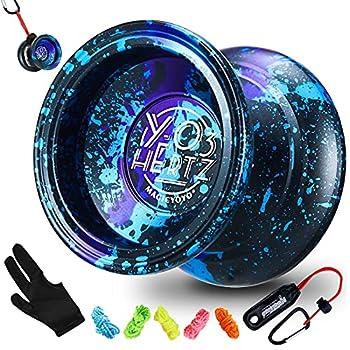 Magic Yoyo Professional Unresponsive Yoyo Y03 - Hertz 3 Acid Color Premium Alloy Aluminum Yo-yo for Intermediate and Advanced Long Spin Time Yoyo for Kids + Extra 5 Strings + Yoyo Holder + Glove