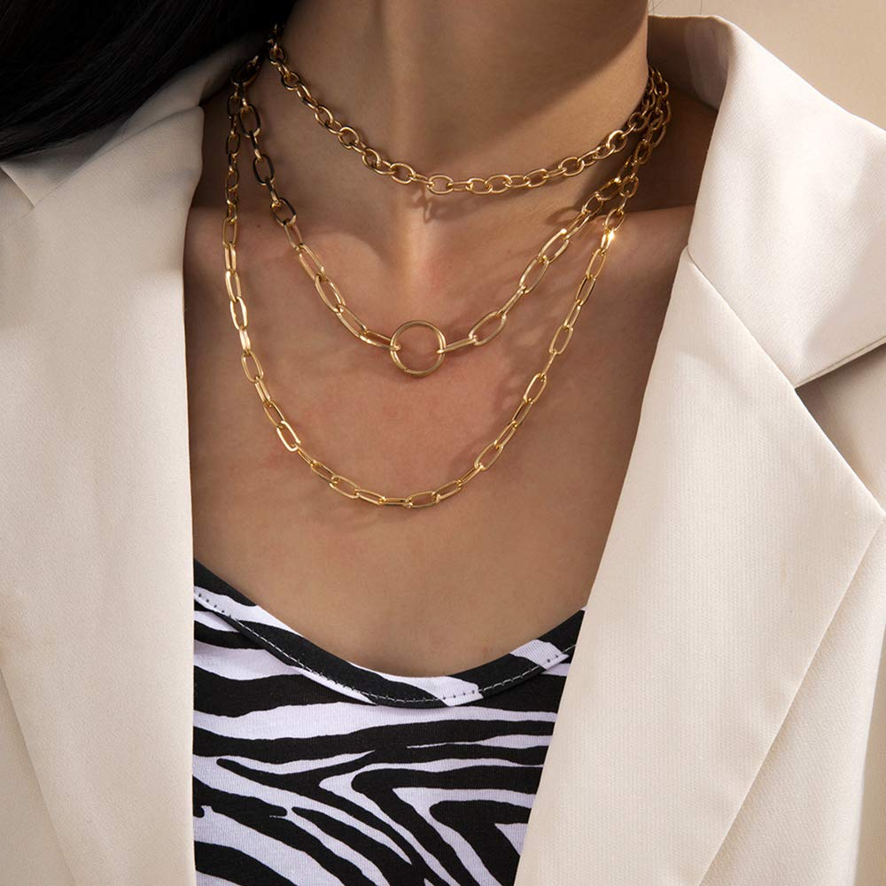 Missgrace Layered Simple Necklace Gold Choker O Rings Pendant Multilayered Long Necklaces Jewelry for Women and Girls (Gold)