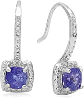 Dazzlingrock Collection Ladies Halo Dangling Drop Earrings, Sterling Silver