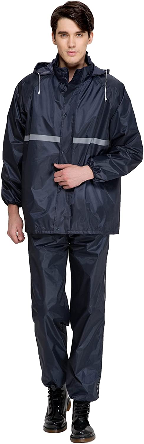 Aircee Rain Suits for Men Raincoat Set Women's Rain Jacket Trouser Suit Reusable Rain Ponchos for Women Rainwear Packable