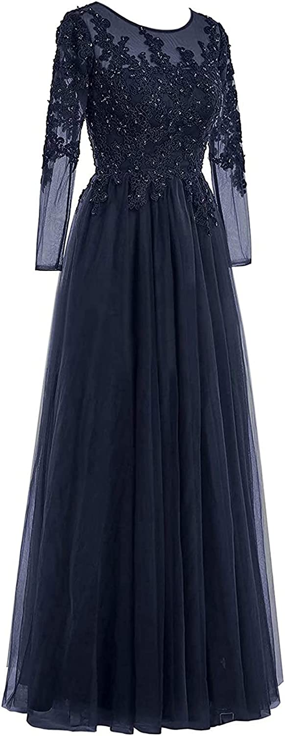 Mother of The Bride Dress Long Sleeves Prom Dress Tulle Formal Evening Gowns Lace Appliques Evening Dresses