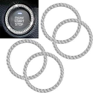 4Pcs Bling Crystal Rhinestone Car Ingnition Button Ring، Sticker Emblem Car با 35 عدد بدلیجات درخشان برای دکمه کلید احتراق موتور ، دستگیره کنترل AC ، جلد و قلاب دستگیره ، هدیه ای برای او