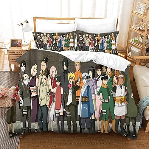 BMKJ Juego de ropa de cama infantil Naruto Anime de microfibra, juego de 3 piezas, impresión digital 3D, ropa de cama para niños, jóvenes, adolescentes (3TLG.200X200+2 * 50X75cm,F)