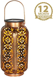 Petrala Solar Lantern Lights Outdoor Vintage Metal Hanging Lanterns 7 lumens Copper Brown with Handle for Garden Patio Table Christmas Gifts
