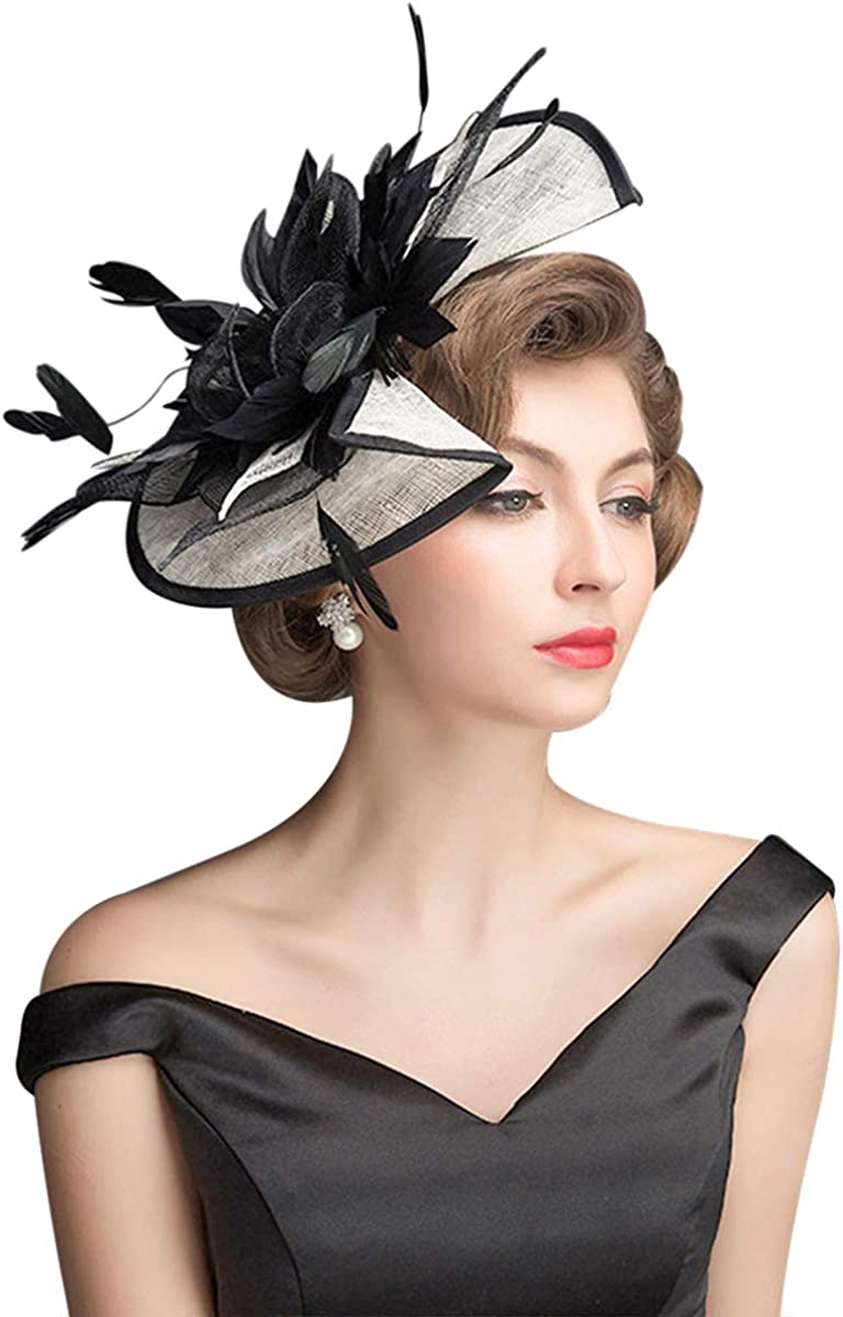 Z&X Sinamay Fascinator Kentucky Derby Church Hats for Women Floral Feather Tea Party Hat Bridal Headpiece with Headband Clip