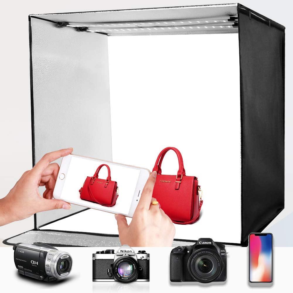 Desktop Bracket SAMTIAN Photo Studio 60cm//24*24*24 Portable Light Box Adjustable Temperature and Brightness 3200K-5500K Shooting Tent with 4 Backgrounds Smart Phone Clip with 2 LED Light Bars