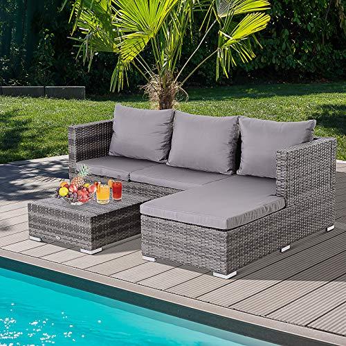 Outsunny Dreiteiliges Gartenmöbel Set, Sofa, Beistelltisch mit Stauraum, 5-Stufig Rückenlehne, PE-Rattan, Grau, (Sofa) 130 x 64 x 62 cm - 4
