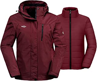 Women's 3-in-1 Waterproof Ski Jacket Interchange Windproof Puffer Liner Warm Winter Coat...