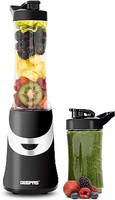 Geepas GSB44020UK Personal Blender Smoothie Milkshake Maker - Mini Travel Blender for Protein Shakes with 2 Easy to Clean BPA Free Tritan Sports Bottles with Leak-Proof Lids (350W)