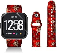 FTFCASE Silicone Sport Bands Compatible with Fitbit Versa/Versa 2/Versa Lite SE, Red Christmas Flower Printed 20mm Strap Replacement Bracelet Wristband for Fitbit Versa Lite SE Watch