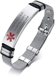 Custom Engraving-Stainless Steel Mesh Wristband Adjustable Medical Alert ID Bracelets for Men Women