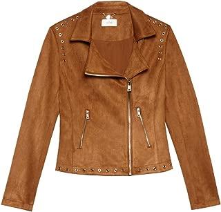 ShallGood Donna Moda Vintage Giacca Moto Corto In Scamosciato Manica Lunga Chiusura A Cerniera Obliqua Cappotto Con Cintura