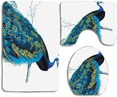 N\A Elegante Pavo Real en Rama, Pluma de pájaro, 3 uds, Juego de alfombras de baño, Cubierta de Asiento de Inodoro Absorbente Antideslizante, Cubierta de Tapa de Alfombra de baño