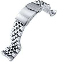 22mm Angus Jubilee 316L SS Watch Bracelet for Seiko SKX007, Brushed/Polished, V-Clasp
