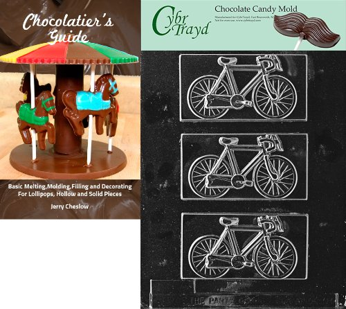 Cybrtrayd Bicycle Kids Chocolate Candy Mold with Chocolatier's Guide Instructions Book Manual