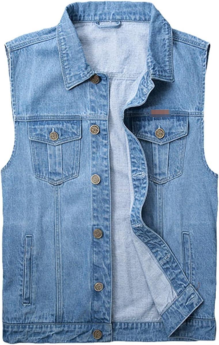 Men Denim Jackets Sleeveless Jean fashion Single Breasted Vest Coats Solid Blue Casual Jeans Jacket