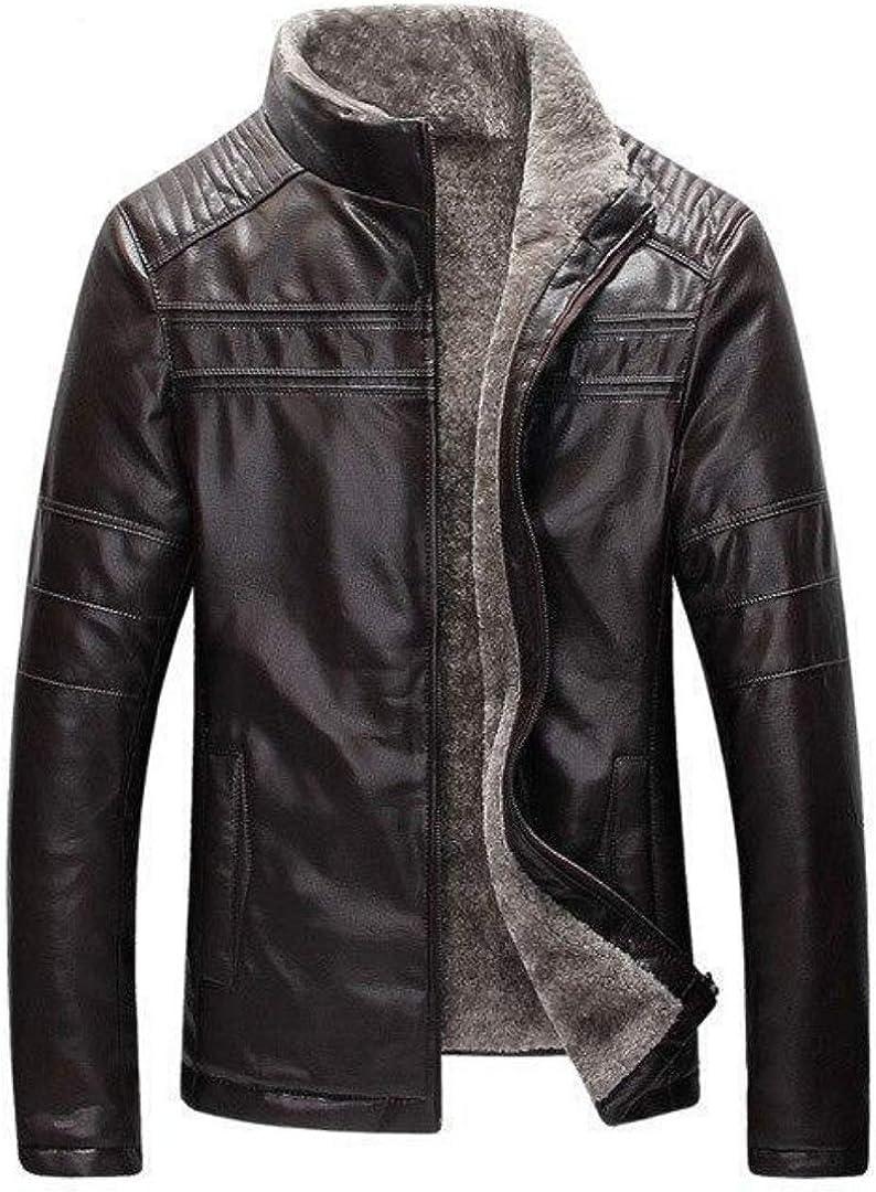 West Louis Men's Leather Jacket Modern Inside Fleece Lining Smooth PU Leather Jacket
