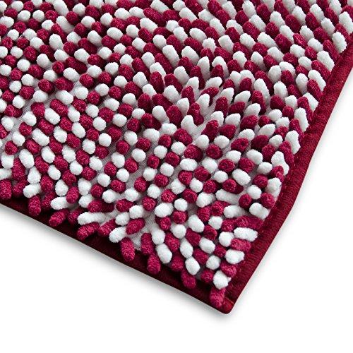 casa pura Chenille Badematte Manta | moderner Microfaser Badvorleger in Trendfarben | schadstoffgeprüft | extra hoch | Komfortgröße 50x80 cm für Badezimmer | Brombeere - Weiß