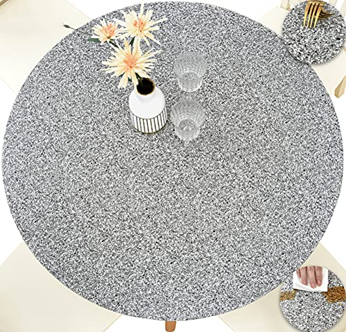 Rally Home Goods Indoor Outdoor Patio Round Fitted Vinyl Tablecloth, Flannel Backing, Elastic Edge, Waterproof Wipeable Plastic Cover, Gray Granite Patterns for 5-Seat Table of 36-42'' Diameter
