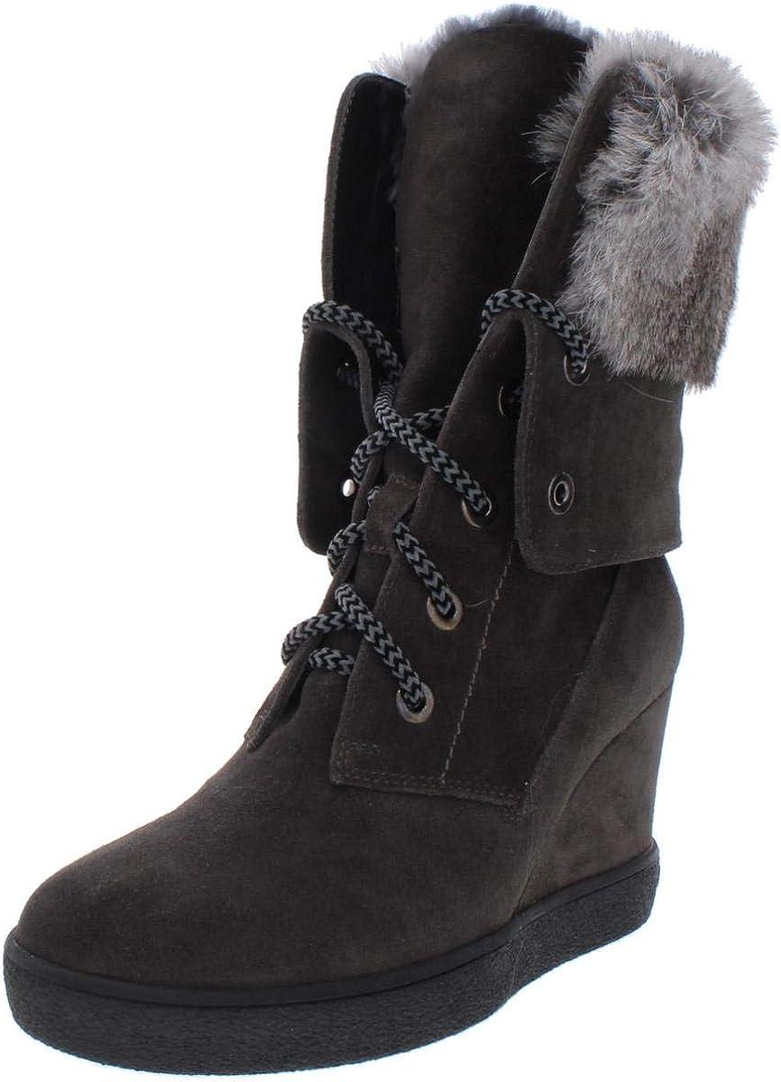 Aquatalia Womens Cordelia Suede Mid Calf Wedge Boots