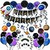 誕生日飾り付けセット 男の子 宇宙船テーマ 一歳 ハーフバースデー【UFOアルミ風船 誕生日ガーランド 惑星渦巻き ケーキトーパーなど】写真背景 SUNBEAUTY (セット3)