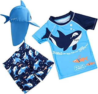 Baby Toddler Boys Two Piece Rash Guard Swimsuits Kids Short Sleeve Sunsuit Swimwear Sets with Hat UPF 50+ Blue Shark