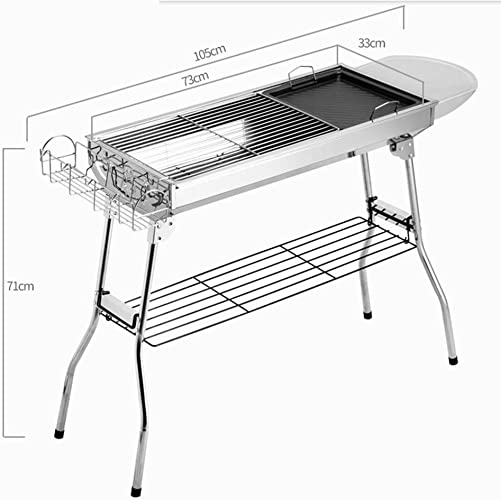 BBQER-A Barbecue en plein air gril de charbon de bois en acier inoxydable portable poêle non-Stick four Easy assembler, trois combiner Toolset