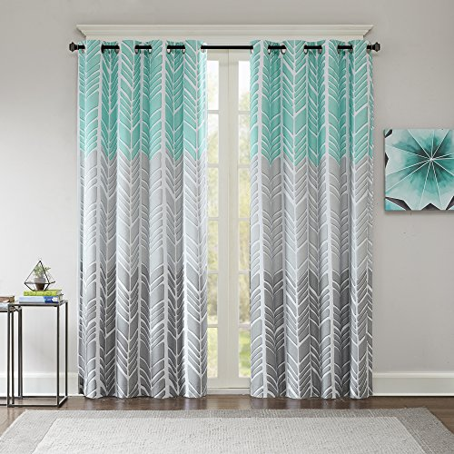 Intelligent Design Adel Blackout Bedroom, Casual Window Living Room, Family, Geometric Grommet Room Darkening Black Out Curtain 1-Panel Pack, 50x84, Aqua