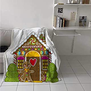 maisi Gingerbread Man Weave Pattern Extra Long Blanket Cute Gingerbread House with Colorful Candies Cookie Man Graphic Figure Custom Design Cozy Flannel Blanket 80x60 Inch Multicolor