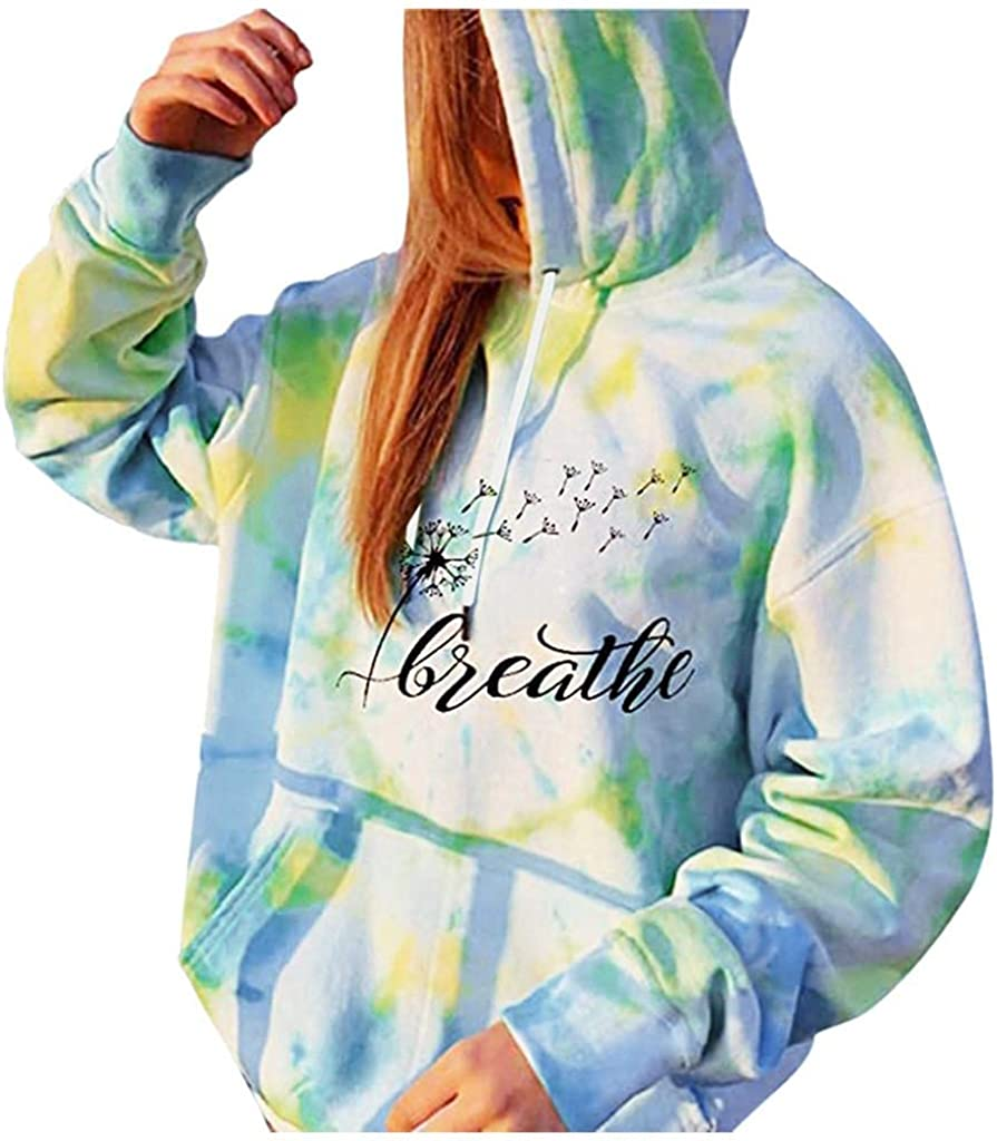 lucyouth Tie Dye Sweatshirts for Women Casual Letter Printed Pullover Pocket Long Sleeve Tunic Tops Hooded Sweatshirt