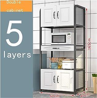 KOKOF Étagère de cuisine de style européen multi-couches avec portes de placard pour ménage, four à micro-ondes, blanc dou...