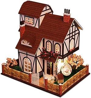 XYZMDJ Träminiatyrmöbel kit mini grönt hus med LED bästa födelsedagspresenten för kvinnor och flickor