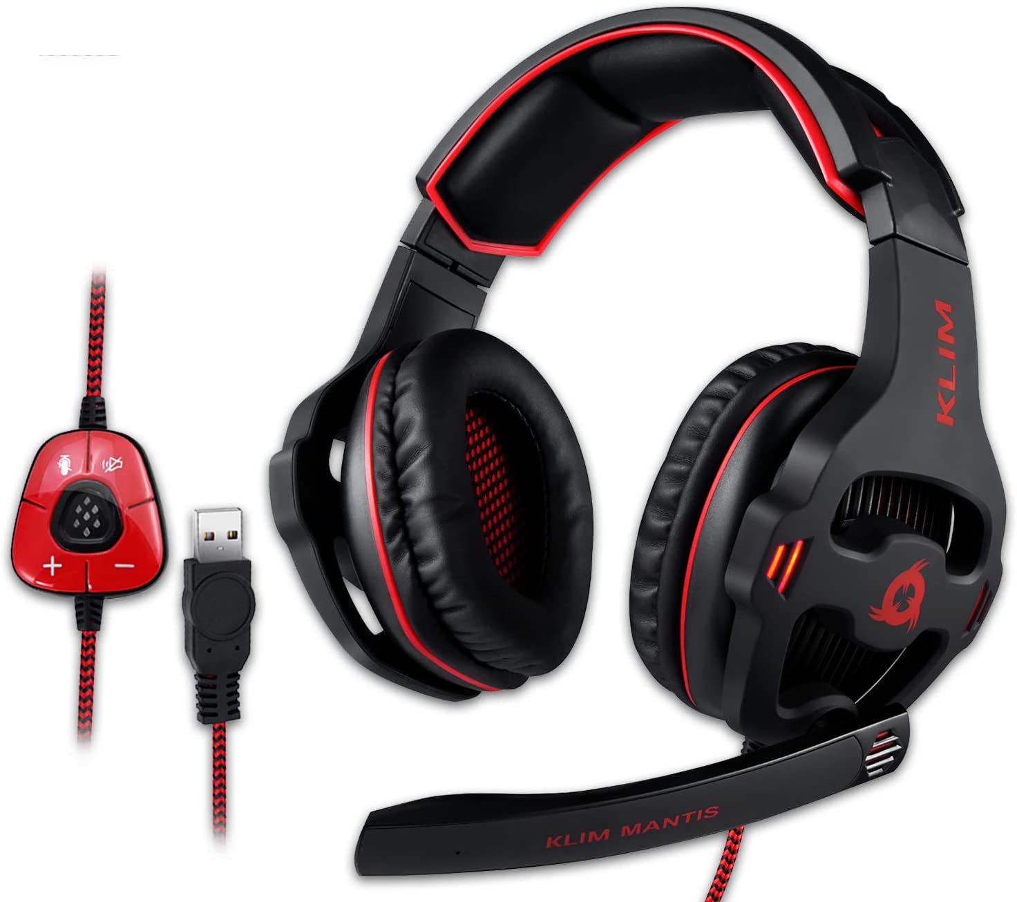 KLIM Mantis - Gaming Headphones - USB Headset with Microphone - for PC, PS4, Nintendo Switch, Mac, 7.1 Surround Sound - [ New 2021 Version ] - Noise ...