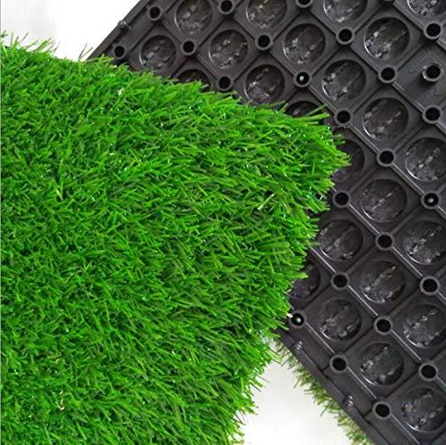 uyoyous 18 Stücke Kunstrasen Grasmatte Bodenfliese Terrassenfliesen Set für Balkon oder Terrasse 25mm,30x30cm,Kunstrasenboden Fliesen Grünrasenteppich (Grün)