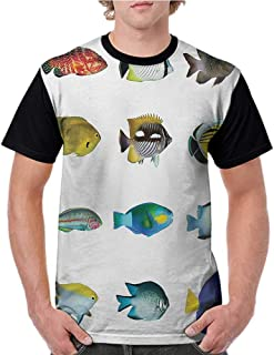 Baseball T-Shirt Summer,Fish,Egyptian Fish with Bannerfish Goldfish Parrotfish Wildlife Nature Red Sea Theme Image,Multicolor S-XXL Summer Custom Tees for Girls