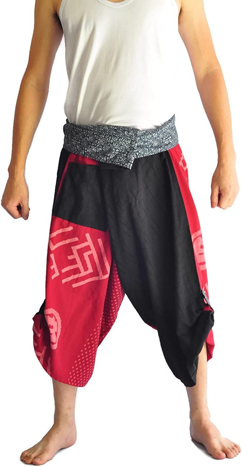 d6fe7b3e Men's Japanese Style Pants One Size Size Size Black and red Tradition Stone  330e6a