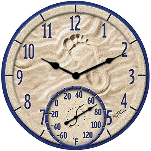 """Springfield Clock With Thermometer Indoor/Outdoor 14"""" Resin -  Taylor, 91501T"""