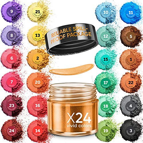 Mica Powder for Epoxy Resin - 24 Color Set Jars - Natural Coloring Cosmetic Grade Pigment for Soap Making, Lip Gloss, Body Butter, Candle Making, Bath Bomb, Resin Art, Acrylic Nails