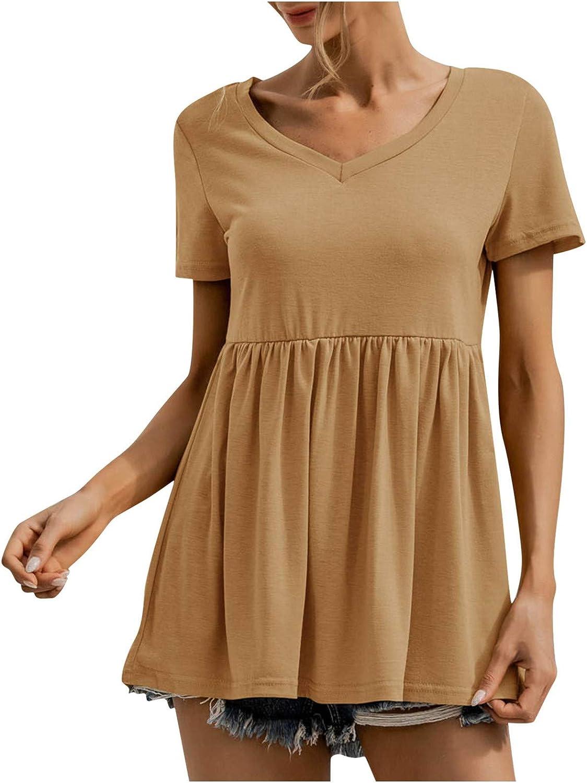 Womens Tops Solid Ruffle Short Sleeve T-Shirts V-Neck Irregular Tunic Loose Casual Blouses Elegant Tee