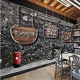 ASGJLH Fototapete Snack Bar Kaffeehaus Küche Retro Nostalgie Motorrad Bar Hintergrund Malerei Tapete Wandbild