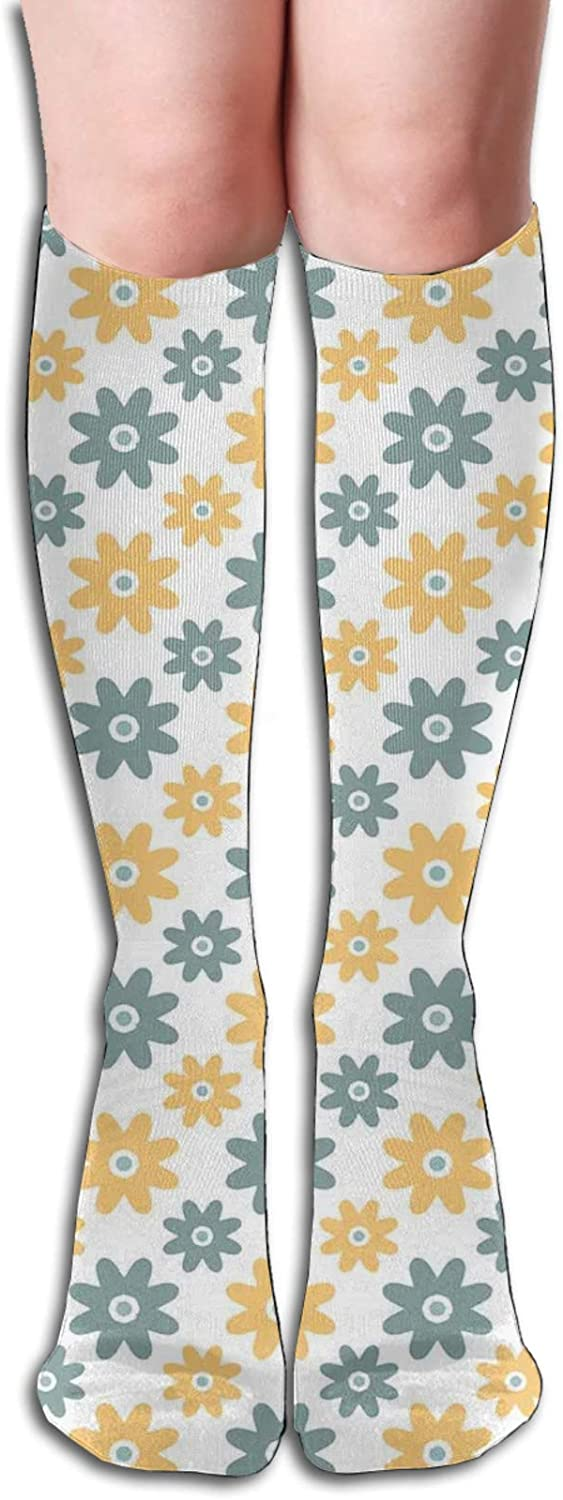 Men/Women Sports socks Lively Cute Wildflowers Daisies Retro Fashion Spring Nature Wicking Breathable Cushion Comfortable Casual Crew Socks