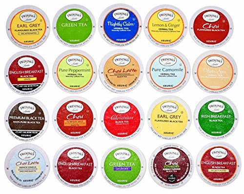 TWININGS K CUPS Tea Sampler Box - 20 COUNT - Variety Sampler Pack for Keurig K-Cup Brewers - Twinings English, Black, Green, Chai, Herbal, Decaffeinated Tea and more - Gift for Tea Lovers