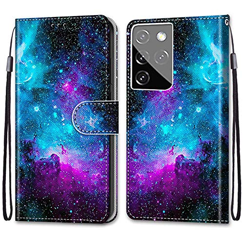 Nadoli Handyhülle Leder für Samsung Galaxy S30 Ultra,Bunt Bemalt Lila Sternenhimmel Trageschlaufe Kartenfach Magnet Ständer Schutzhülle Brieftasche Ledertasche Tasche Etui