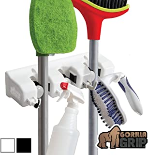Gorilla Grip Premium Mop and Broom Holder, 3 Auto Adjust Slots, 4 Hooks, Easy Install Wall Mount, Store Cleaning and Gardening Tools, Organize Kitchen, Garage, Storage Rooms, White