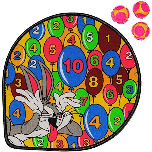 """1 Set: Dart Spiel - Dartscheibe incl. 3 Klettbälle - """" Looney Tunes """" - Wurfspiel für Kinder & Erwachsene - OHNE Spitze - drinnen und draußen Spiel Dartspiel - Klett / Klettball - Ballspiel"""