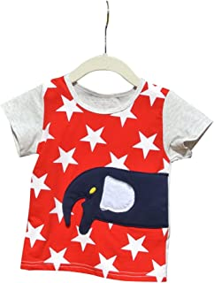 FengChi Little Boy Star and Elephant Short Sleeve T-Shirt Top Size 12 Months To 3T