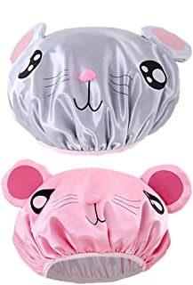 AZFUNN 2-PCS Kids Shower Caps, Girl Bath Hat of Cute Hamster, Cute Animal Shower Caps Double Layer Waterproof