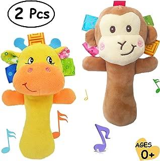 Merveilleux Cartoon Stuffed Animal Baby Soft Plush Hand Rattle Toys Infant Dolls - Giraffe and Monkey