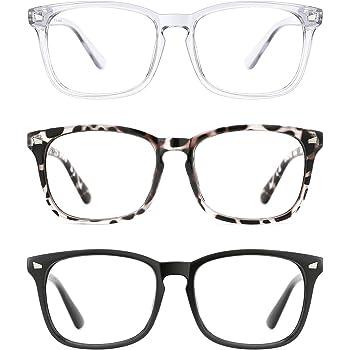 TIJN 3 Pack Stylish Square Non-Prescription Glasses Clear Lens Eyewear for Women Men